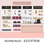 cosmetics store interior with... | Shutterstock .eps vector #615197828