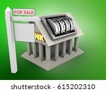 3d illustration of bank over... | Shutterstock . vector #615202310