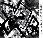 seamless grunge geometric... | Shutterstock .eps vector #615208988