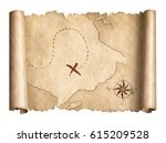 old pirates treasure scroll map ... | Shutterstock . vector #615209528