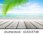 old wood table top on blurred... | Shutterstock . vector #615215738