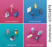 electricity concept icons set... | Shutterstock .eps vector #615216878