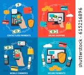 mobile commerce orthogonal 2x2... | Shutterstock .eps vector #615216896