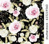 bright watercolor seamless... | Shutterstock . vector #615219560
