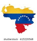 venezuela map national flag icon | Shutterstock .eps vector #615220568