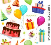 seamless pattern with birthday... | Shutterstock .eps vector #615221858