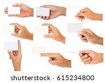 set of hand holding paper... | Shutterstock . vector #615234800