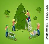 Miniature People Trimming Tree. Gardener Working. Isometric vector flat 3d illustration - stock vector