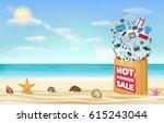 hot summer sale shopping bag... | Shutterstock .eps vector #615243044