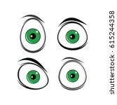 cartoon funny green eyes for... | Shutterstock .eps vector #615244358
