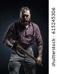 lumberjack brutal bearded man...   Shutterstock . vector #615245306