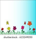 colorful flowers on green... | Shutterstock .eps vector #615249050