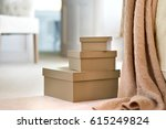 brown leather storage boxes in... | Shutterstock . vector #615249824