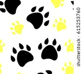 paw print seamless pattern... | Shutterstock .eps vector #615253760