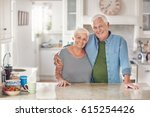 portrait of a content senior... | Shutterstock . vector #615254426