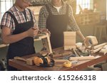 carpenter covering little... | Shutterstock . vector #615266318
