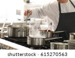 chef in hotel or restaurant... | Shutterstock . vector #615270563