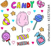 cute candy various doodle style | Shutterstock .eps vector #615273164