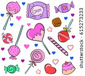 collection of candy various... | Shutterstock .eps vector #615273233