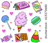 doodle of candy various... | Shutterstock .eps vector #615273680