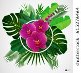 tropical leaves with orchids... | Shutterstock .eps vector #615276464