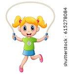 cartoon little girl playing... | Shutterstock . vector #615278084