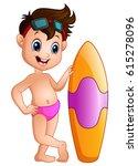cartoon boy with a surfboard | Shutterstock . vector #615278096