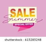 summer sale banner. vector... | Shutterstock .eps vector #615285248