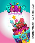 happy birthday poster. festive... | Shutterstock .eps vector #615288260