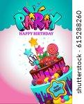 happy birthday poster. festive... | Shutterstock .eps vector #615288260