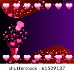 Raster version Valentine Champagne Background 2 with Bubbles and Hearts. - stock photo