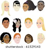 raster version of people faces... | Shutterstock . vector #61529143