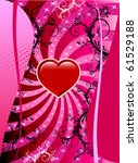 Raster version Valentine Background with hearts and scrolls. - stock photo