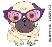 bulldog with glasses   vector... | Shutterstock .eps vector #615291908
