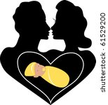 Raster version Marriage Love Baby Logo also available plain. - stock photo