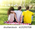 girl with two boys  one hugging ... | Shutterstock . vector #615293708