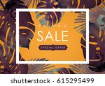 floral flayer or discount... | Shutterstock .eps vector #615295499