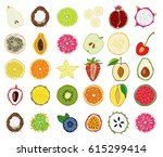 set of fresh hand drawn fruits... | Shutterstock .eps vector #615299414