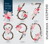 vector illustration of floral... | Shutterstock .eps vector #615299540