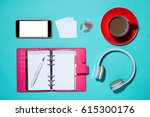 office supplies. top view on...   Shutterstock . vector #615300176
