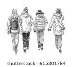 sketch of the walking students   Shutterstock . vector #615301784