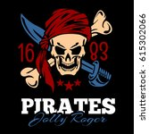 vintage label pirates skull | Shutterstock .eps vector #615302066