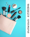 make up products spilling out... | Shutterstock . vector #615302846