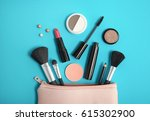 aerial view of make up products ... | Shutterstock . vector #615302900