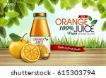 orange juice contained in glass ... | Shutterstock .eps vector #615303794