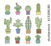 cactus and succulents vector... | Shutterstock .eps vector #615308180
