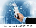 businessman reading financial... | Shutterstock . vector #615310910