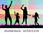 vector silhouette of family. | Shutterstock .eps vector #615311114