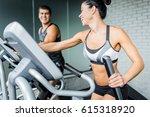 portrait of beautiful  sportive ... | Shutterstock . vector #615318920
