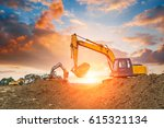excavator in construction site... | Shutterstock . vector #615321134